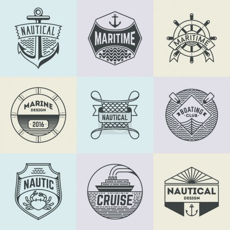 Illustration for Assorted Nautical Insignias Logotypes Template Set. Line Art Vector Elements - Royalty Free Image