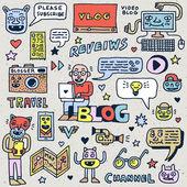 Blogging Activities Funny Doodle Cartoon Set Video Blog Social Media Internet Technologies Vector Hand Drawn Color Illustration Pattern