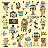 Doodle emotional characters set