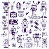 Doodle emocionální znaky sady