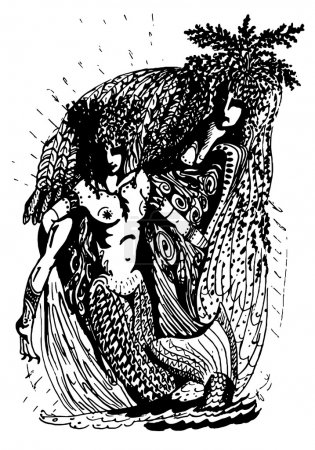 Black and white graphics, two mermaids
