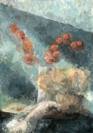 Still life with winter cherry and dried flowers ba...