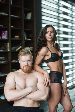 Couple. Portrait of bodybuilders.