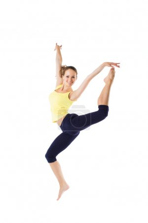 Weight loss fitness woman jumping of joy. Young sporty Caucasian female model isolated in full body