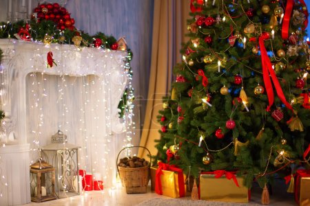 Photo for Christmas tree with fireplace, Christmas holiday and New Year. - Royalty Free Image