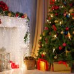 Christmas tree with fireplace, Christmas holiday a...