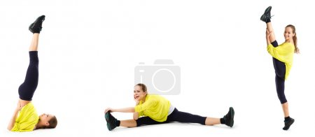 Young woman doing stretching exercises.