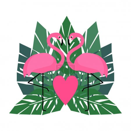 Flamingos and palm leaves illustration