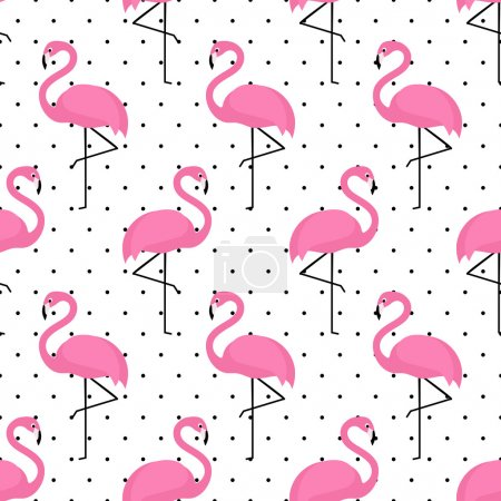 Illustration for Flamingo seamless pattern on polka dots background. Flamingo vector background design for fabric and decor - Royalty Free Image