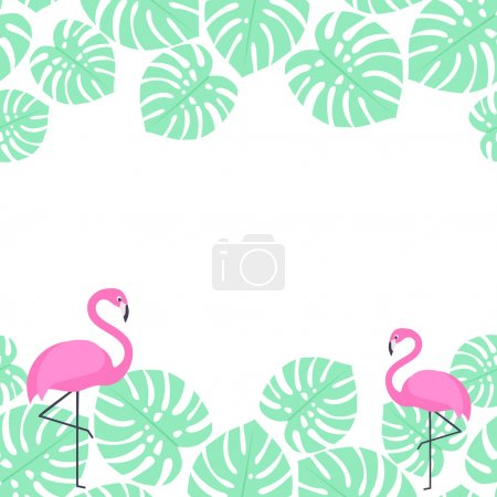 palm leaves and flamingos