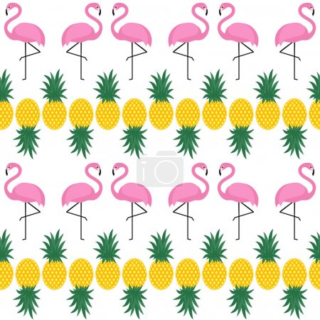 Flamingos seamless pattern with pineapples