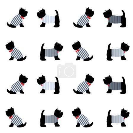 Scottish terrier in a sailor t-shirt seamless pattern.