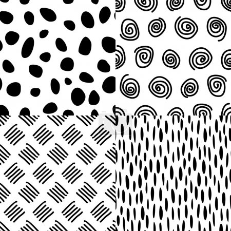 Seamless backgrounds with dots, spots, spirals, touches, dash, sticks.