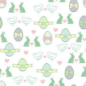 Seamless Easter pattern card Vector background with Easter Bunny chicks decorative eggs hearts and bows