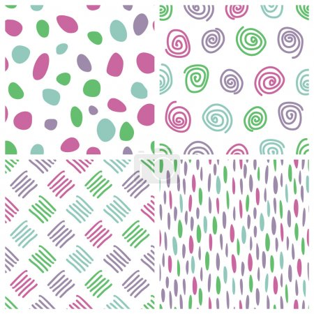 Seamless backgrounds with dots, spots, spirals, touches, dash, sticks