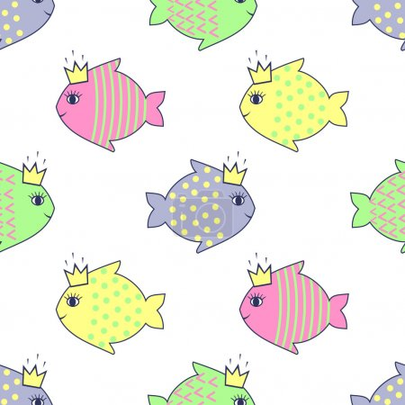 Seamless pattern with smiling fish for kids holidays