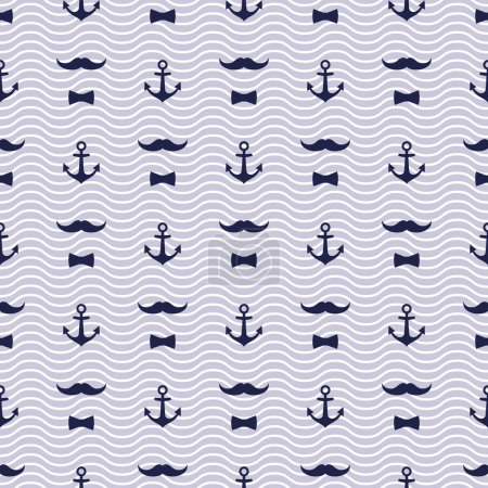 Anchor, Bow Tie and Mustache Seamless Pattern