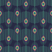 Seamless abstract pattern with peacock feather and bird fluff on dark blue background