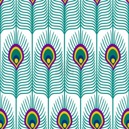 Illustration for Seamless abstract pattern with peacock feather on white background. Close-up decorative texture with peacock feathers. Cute peafowl feather background. - Royalty Free Image
