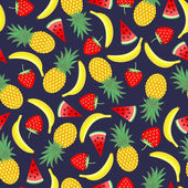 Seamless pattern with yellow bananas pineapples and juicy strawberries on dark blue background Cute vector background Bright summer fruits illustration Fruit mix card