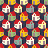 Seamless pattern with colorful houses on polka dots background Home sweet home vector illustration Child drawing style texture