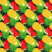 Seamless pattern with kiwi pineapples and juicy strawberries on black background Cute vector background Bright summer fruits illustration Fruit mix card