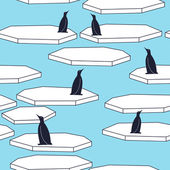 Seamless pattern with penguins and ice floes Cute nordic landscape background