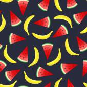 Seamless pattern with yellow bananas and juicy watermelon slices on dark grey background Cute vector watermelon banana background Bright summer fruits illustration