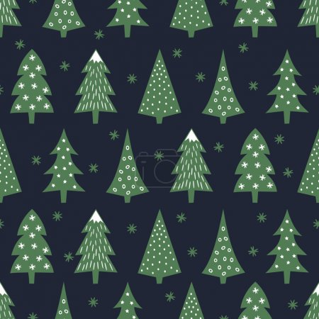 Simple seamless retro Christmas pattern - varied Xmas trees, stars and snowflakes. Happy New Year background. Vector design for winter holidays on dark blue background.