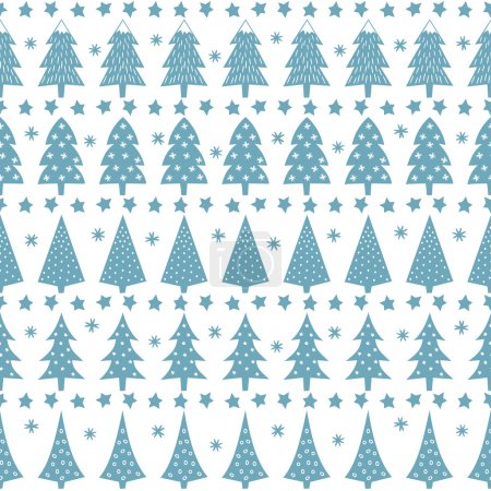 Simple seamless retro Christmas pattern - varied Xmas trees, stars and snowflakes. Baby blue Happy New Year background.