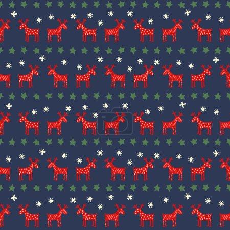 Seamless retro Christmas pattern - varied Xmas reindeers, stars and snowflakes.