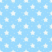Seamless pattern with cute stars for kids Baby shower blue vector background