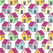 Seamless background with colorful houses with pink roofs Home sweet home vector illustration Cute child drawing style pattern