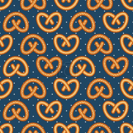 Seamless pattern with fresh tasty pretzel for Oktoberfest on polka dots background.