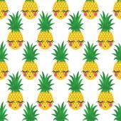Bezešvé vzor s úsměvem spící ananas děti prázdniny. Vector ananas pozadí