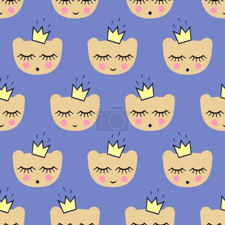 Seamless pattern with smiling sleeping bears with crowns for kids holidays. Cute baby shower vector background.