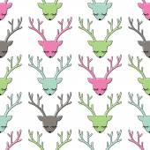 Colorful deer head seamless pattern Animal head texture Cute sleeping deer background for winter holidays