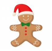 Gingerbread man is decorated colored icing isolated on white background