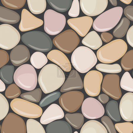 Stone seamless background texture. Pebbles seamless pattern. Colorful seaside wet pebble vector illustration.