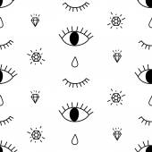 Abstract pattern with open and winking eyes diamonds tears Cute trendy background