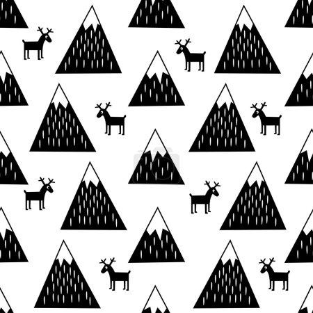 Illustration pour Modèle sans couture avec des montagnes enneigées géométriques et des rennes. Illustration en noir et blanc. Mignon fond de montagnes d'hiver . - image libre de droit
