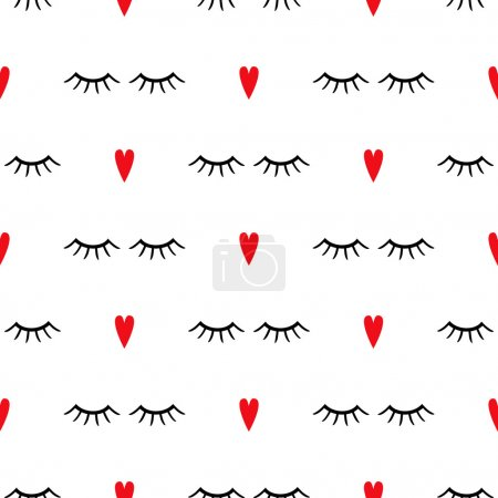 Illustration for Abstract pattern with closed eyes and red hearts. Cute eyelashes background illustration. - Royalty Free Image