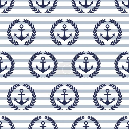 Illustration for Navy vector seamless patterns with anchors and laurel wreaths. Cute nautical background. - Royalty Free Image