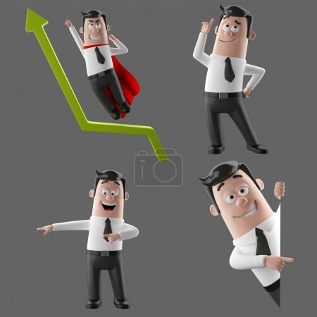 3d cartoon character, funny businessman illustration