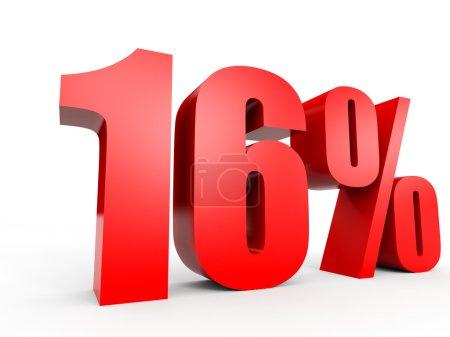 Discount 16 percent off. 3D illustration.