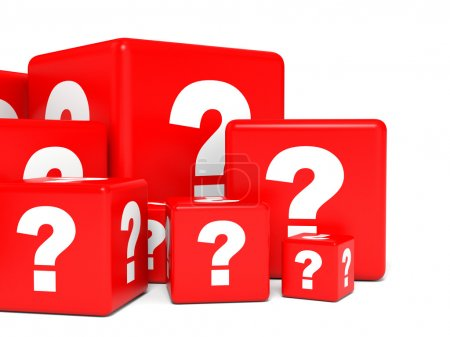 Cubes with question sign.