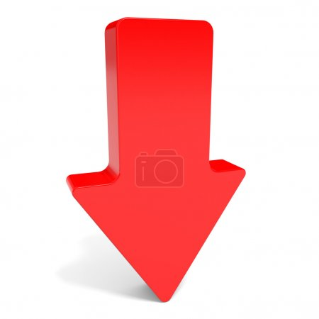 Photo for Red arrow down. 3D illustration. - Royalty Free Image