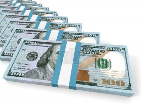 Photo for Stacks of money. New one hundred dollars. 3D illustration. - Royalty Free Image