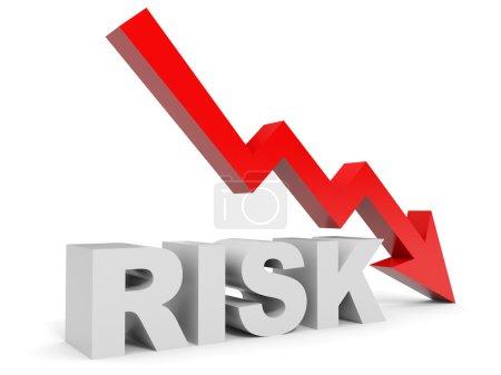 Graph down risk arrow.