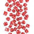 Red discount cubes. 3D illustration....